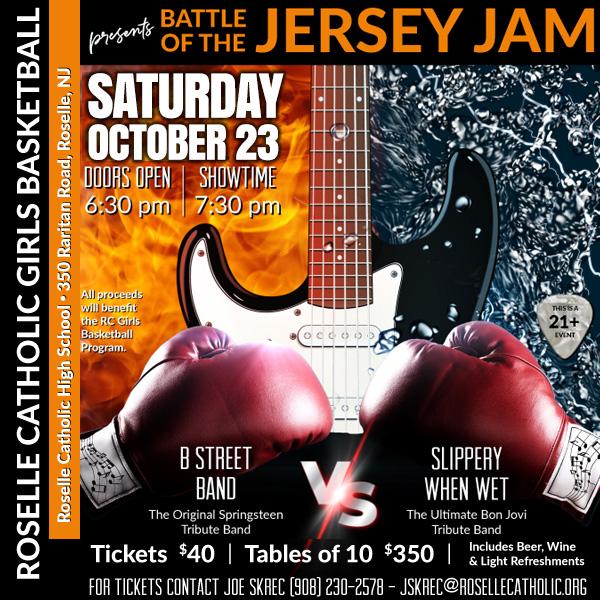 Sat. Oct 23 – Bruce & Bon Jovi Battle for NJ – Roselle Catholic Girls Basketball Fund
